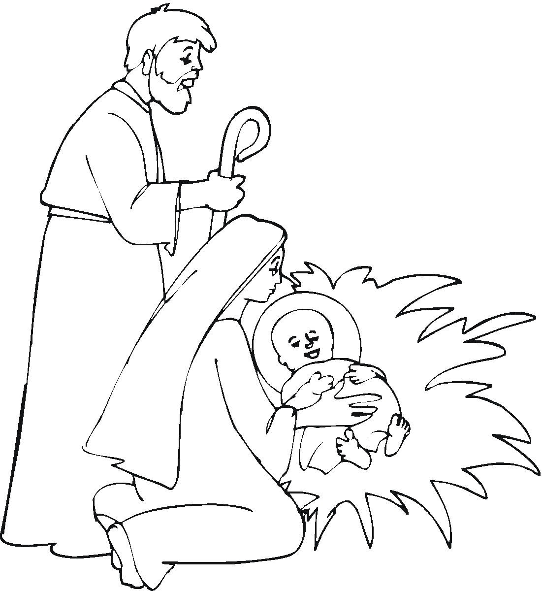 Lovely Coloring Pages Of Baby Jesus Images