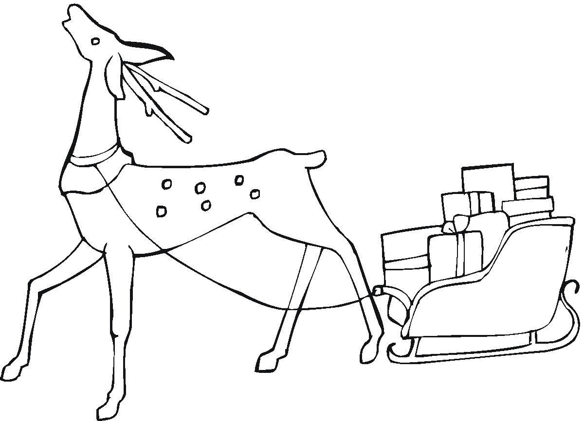christmas reindeer coloring page 2 - Free Christmas Pictures To Print 2