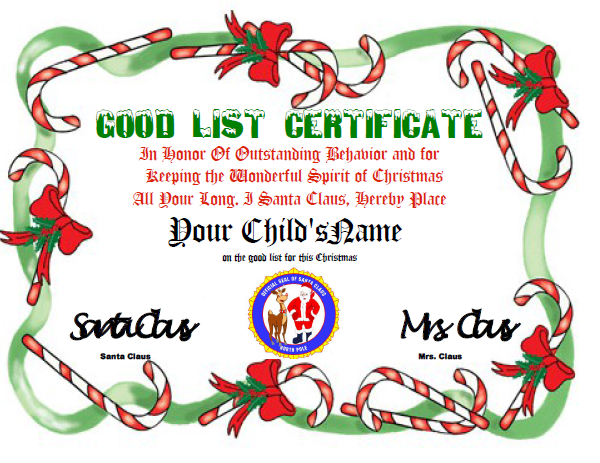 Reward Childs Efforts The Official Santas Good List Certificate